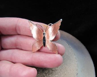 Vintage Pink & Black Enameled Butterfly Pin