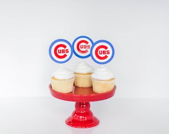Cubs cupcake toppers, Baseball cupcake toppers, Baseball birthday cupcake toppers, baseball toppers, Cubs baseball party