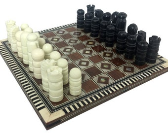 Vintage MOSAIC Egyptian  CHESS BOARD w mother of pearl inlay