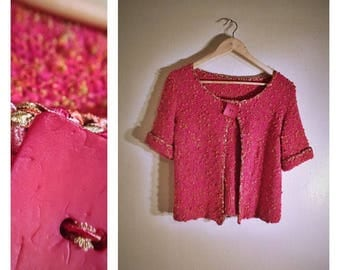 "80s thick ""Pretty in Pink"" cropped short-sleeve cardigan blouse"