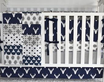 Indigo Antlers Crib Bedding, modern nursery, modern quilt, woodland, bulkhead, boy nursery, hunting, indigo, navy, changing pad, bumpers
