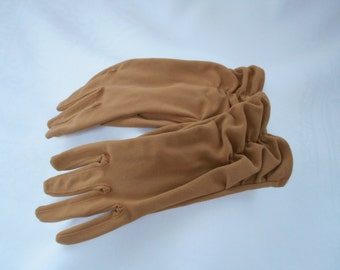 Vintage Nylon Simplex Toffee Brown Rouched Wrist Length Gloves Size 7 1960's  #20075