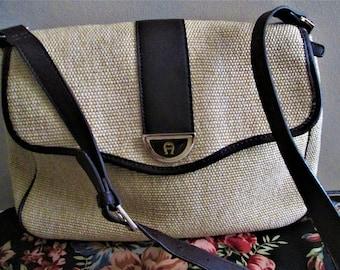 Vintage Etienne Aigner Brown Leather Trim and Woven Shoulder Handbag.