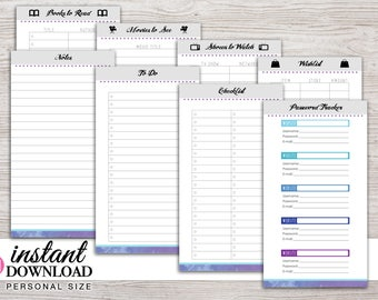 Printable Planner - Notes - To Do - Fun Lists - Password Tracker - Filofax Personal - 3.75 x 6.75 - Design: Chasing Dreams