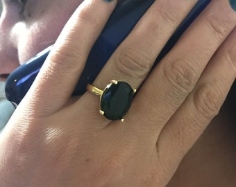 Ring, Crystal ring, Dark green ring, Gold filled ring, Adjustable ring, Free size ring, Gift for her