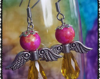 Pink and Yellow Angel Wing Earrings