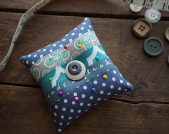 Fabric Quilted Pincushion in Blue, Teal and Grey vintage look prints with Vintage Button Trim, Sewing Gift, Seamstress Gift