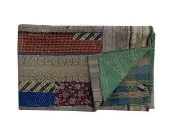 Kantha sari quilt, vintage kantha quilts, Rajasthani kantha quilt, Indian quilts, Indian kantha quilt, kantha, kantha throw