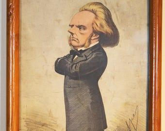 4 Victorian Framed Vanity Fair 'Spy' Portraits.  Chromolithographs.