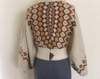 70's bohemian sweater warm wool cardigan