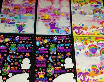 Vintage 90's Lisa Frank Set of 17 Partial Sticker Sheets