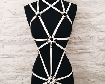 White Leather Body Harness