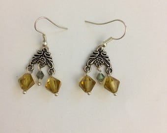 Yellow crystal and silver chandelier style dangle earrings with French ear wires