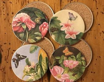 Flowers & Butterflies Coasters - set of 4
