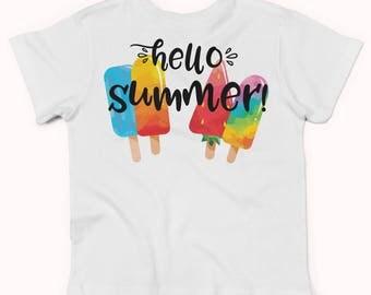Hello Summer popsicle shirt, popsicle bodysuit, popsicle party  xz