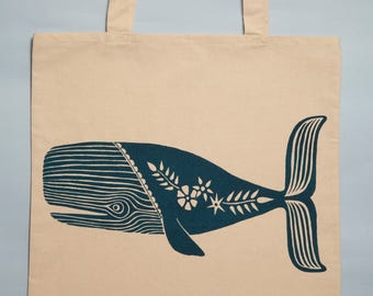Large Whale Screen Printed Tote Bag