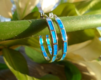 925 Silver Earrings - Big Round Hoop Earrings Blue Fire Opal