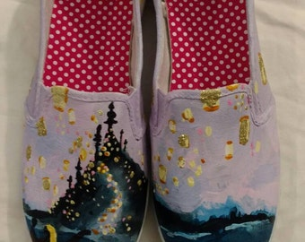 Disney's Tangled Inspired Hand Painted TOM's Shoes