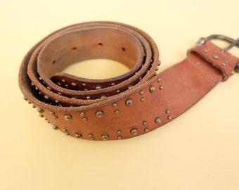 Vintage Woven Brown Leather Belt, Gold Grommet, 1960s,  Boho Chic, Hippie, Vintage Leather