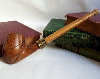 Carved leaves old Briar pipe / hose bamboo / XIX / ring brass / pipe smoker collection / gift smoker