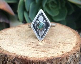 Turquoise diamond shape ring size 5.25