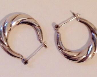 Vintage Sterling Puffy Hoop Earrings