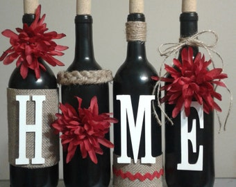 red mums, house warming gift, wine bottle gift, wine bottle craft, wine bottle idea, wine bottle crafts, rustic, wine bottle, burlap, twine