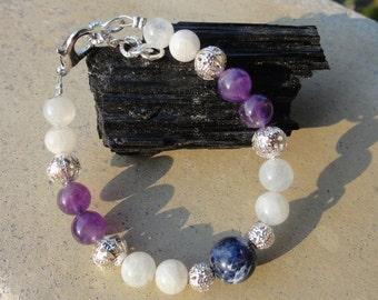 Wiccan Moonstone Bracelet-New Age Meditation Society Goddess Bracelet for Amethyst Dreams