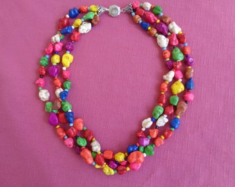 Multi Colored Triple Strand Chunky Glass Bead Necklace