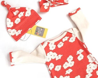 Organic Baby Sleeper Set POPPY CORAL baby girl sleeper, newborn gown, organic baby clothes, layette, coming home outfit, organic baby, baby