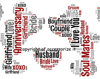 A4 Personalised Mickey & Minnie Word Art print - Love / Anniversary / Valentine's Day Gift Idea *Digital File Also Available*