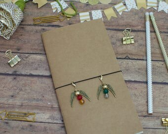 Traveler's Notebook Charm | Harry Potter Themed Golden Snithces with House Colors