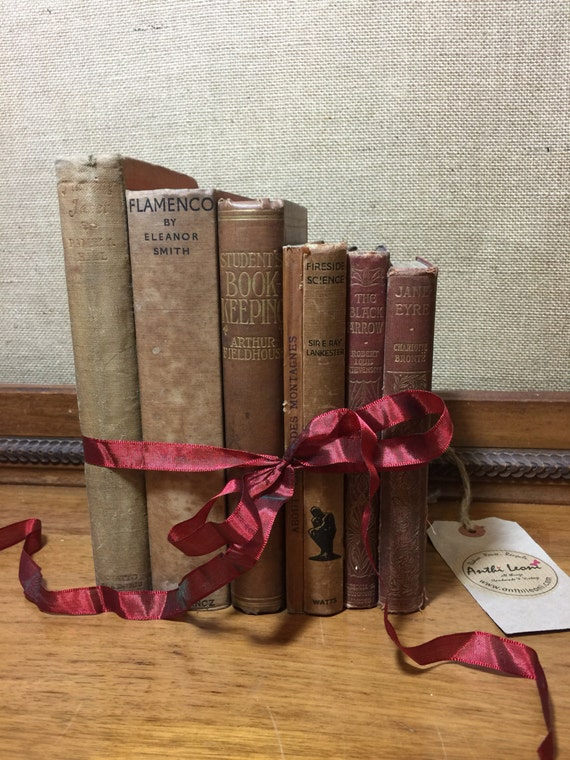 NATURAL BROWN TAN Vintage Book Collection - Old Books Decoration - Interior Design Shelf Staging - Neutral Home Decor - Custom Sourced Books