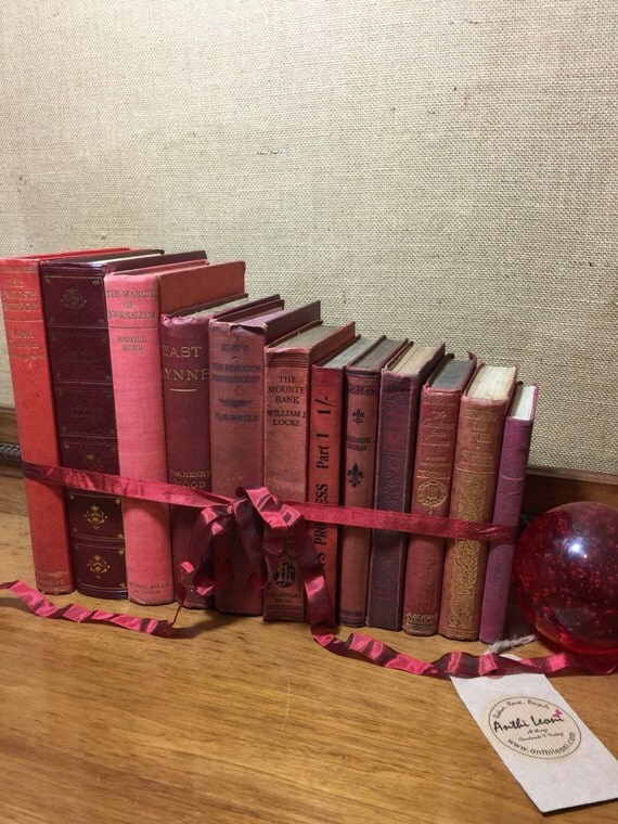 Christmas RED Vintage Book Collection - Old Books Decoration - Foot Long 11-13 Books - Shelf Staging - RED Home Decor - Custom Sourced Books