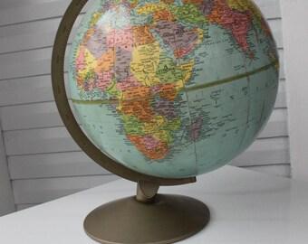 Rare Unusual 12 Replogle Reference Globe- Cold War Era-Metal Base