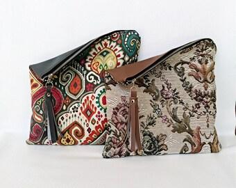 Boho or Vintage vegan faux leather clutch, fold over, bag, zip bag, grab bag, sack bag, purse