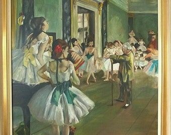 SALE!!!!!!Simply divine, Edgar Degas, The Dance Class, hand-painted oil painting on canvas....CHARMANT!