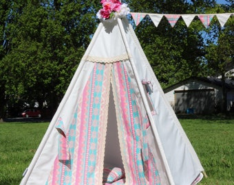 Alice Teepee Package with Poles, Mat and Flags,  Kids Teepee, Play Tent, Childrens Teepee,  Tipi, Playhouse, girl teepee,Kids Room Decor