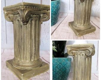 Pedestal Column Plant Stand~Greek Column Roman Pillar Fern Plant Flower Display Stand~Gold ~Shabby Garden Porch Patio Wedding Decor