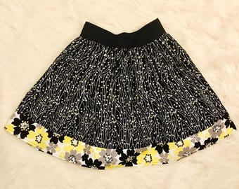Floral Gathered Skirt - Womens Spring and Summer Outfit  - Grey Yellow and Black Above Knee Cotton Skirt - Elastic Waistband Tea Skirt