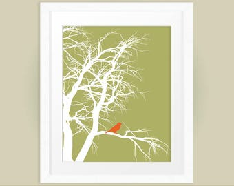 Little Orange Bird in Tree Printable Wall Art, Nature Print, Autumn Art, Home Decor, INSTANT DOWNLOAD