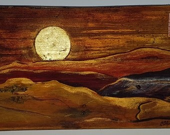 Original mixed media painting on wood -  Drift