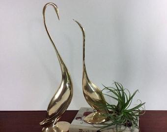 Vintage Brass Cranes Statues-Modernist Brass Birds Figures