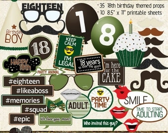 Photo Booth Props, HAPPY 18TH BIRTHDAY, boy, brown, green, camo, printable sheets, instant download, diy party