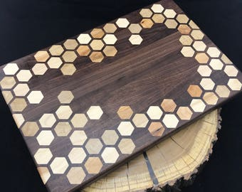 Large Honeycomb inlay Cutting board- Walnut & Maple Pattern #3