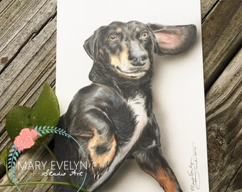 "5"" x 7"" Custom Color Pencil Pet Portrait Drawing with Optional Background"