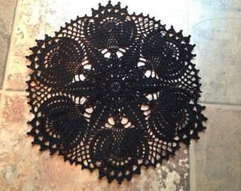 gorgeous black handmade crochet lace home decor housewarming doily