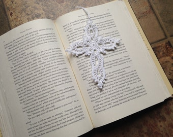 cross bookmark, white color, ornament, craft parts, appliqués, crochet lace, handmade