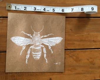 Bee drawing orginal art print by Tessa McCown