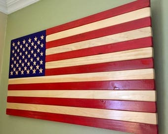 Carved American Flag